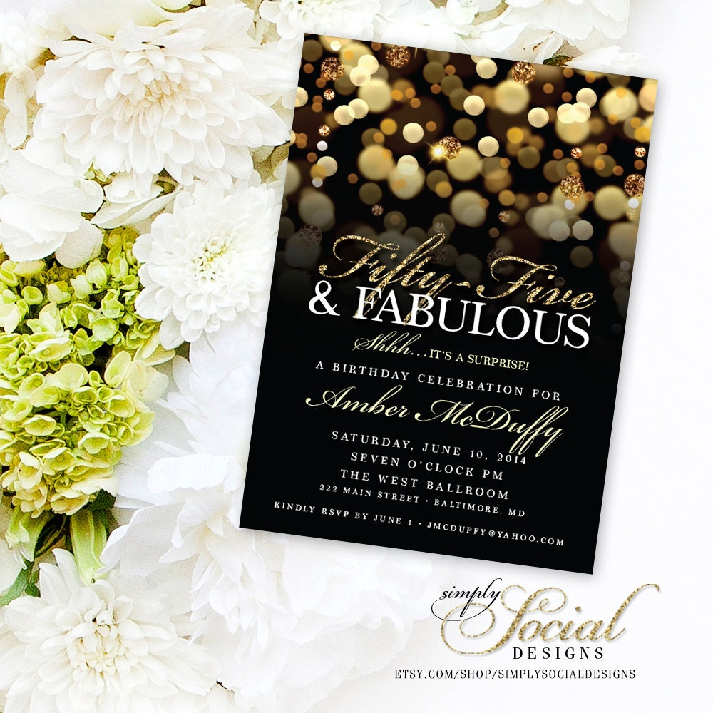 Surprise 55th Birthday Party Invitation With Gold Glitter Bokeh Fifty Five