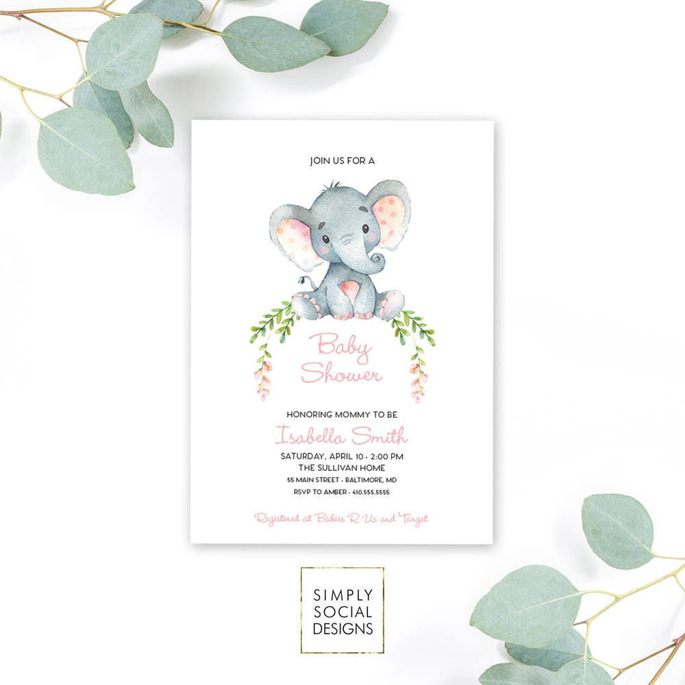 Pink Elephant Baby Shower Invitation