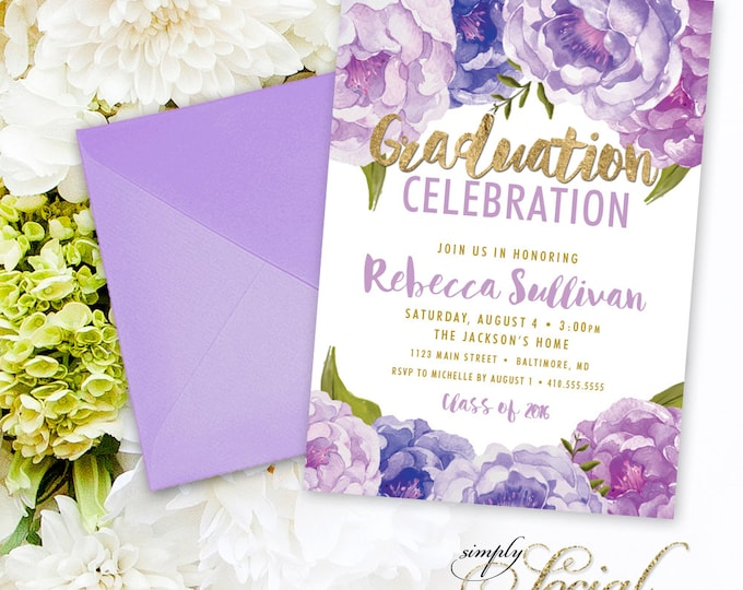 Floral Graduation Party Invitation - Purple Rose Ranunculus and Faux Gold Foil Watercolor Floral Boho Class of 2017 Printable