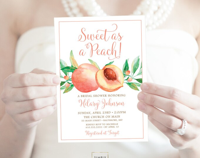 Sweet as a Peach Bridal Shower Invitation - Watercolor Georgia Peach Bridal Shower Invite Birthday Invite Printable Sweet as a Peach