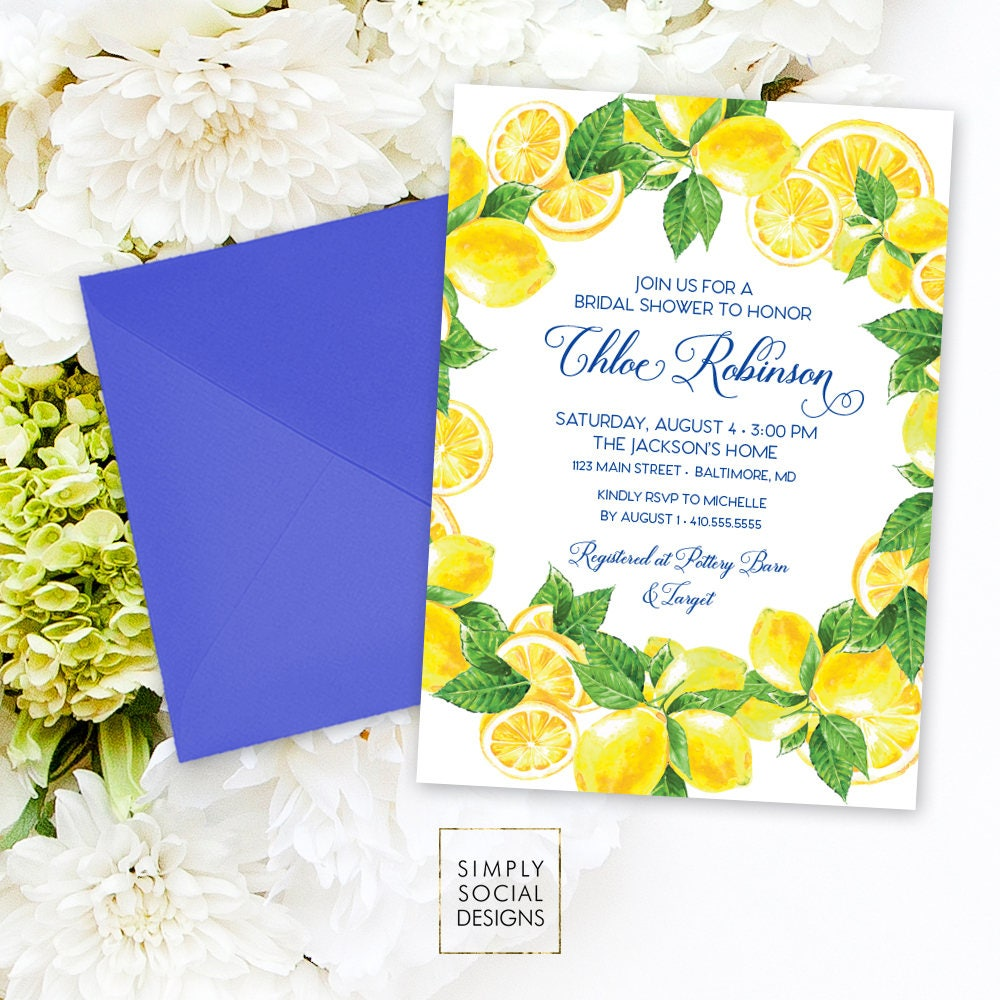 lemon bridal shower invitation mediterranean invite lemon italian bridal shower yellow and blue modern calligraphy watercolor printable