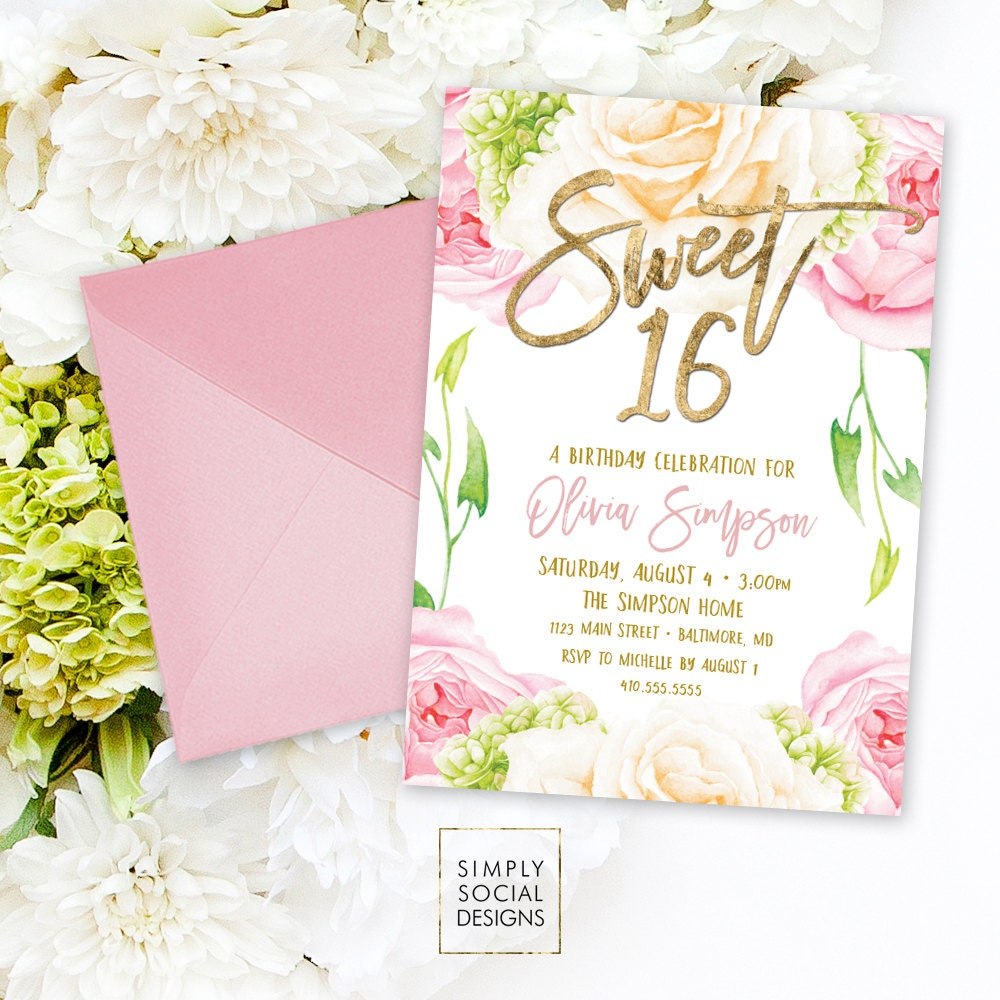 Floral Sweet Sixteen Invitation Floral Peony Blush Faux Gold Foil