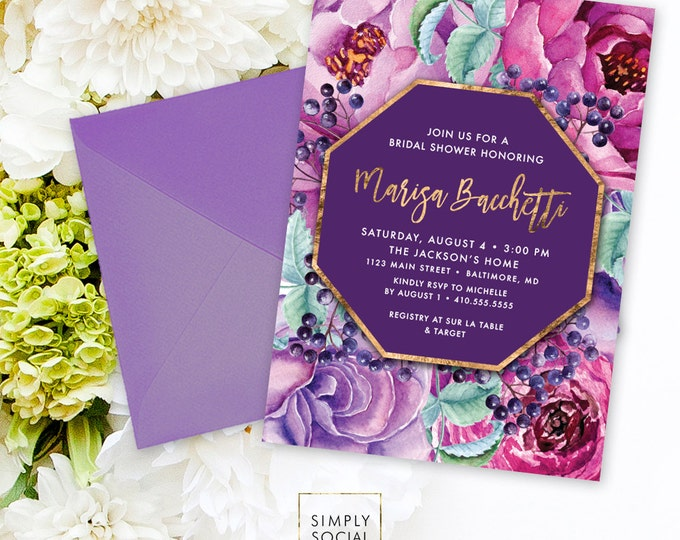 Purple Floral Bridal Shower Invitation - Faux Gold Foil Classy Purple Burgundy Flowers Fall Bridal Shower Calligraphy Invite Printable