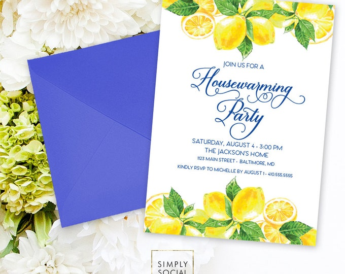 Lemon Housewarming Party Invitation - Fresh Lemon with Navy Font Meditteranean Invite Calligraphy Printable Italian Lemon New Home Party
