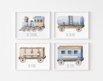 "Train Printable Nursery Wall Art - Train Poster - Train Decor - Railroad Theme - Boys Room Train Wall Art - Set of 4 Printable 11x14"""