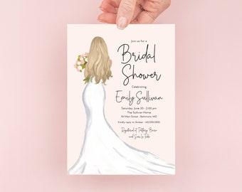 Blonde Bride in a Gown Bridal Shower Invitation