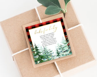 Books for Baby Insert Card - Pine Tree Red Plaid Baby Shower - Baby It's Cold Outside