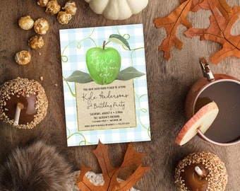 GREEN Apple of Our Eye Birthday Party Invitation with Blue and White Buffalo Check - Apple Picking