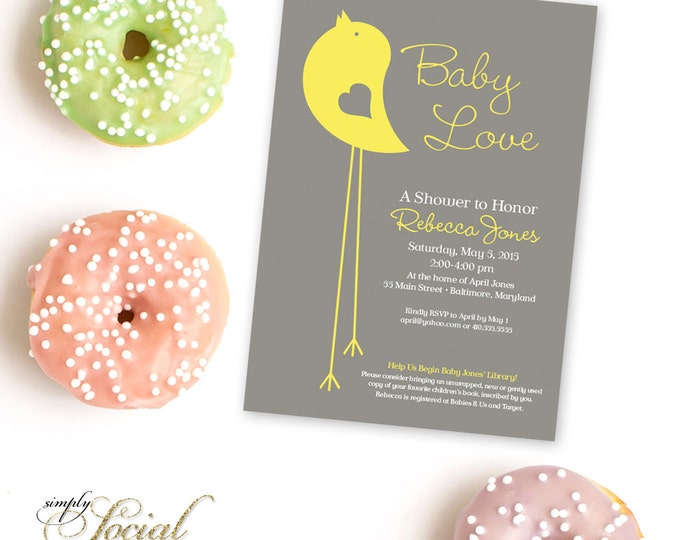 Bird Baby Shower Invitation Gender Neutral Baby Shower Little Birdie Yellow and Grey Baby Shower Printable Invitation Baby Love
