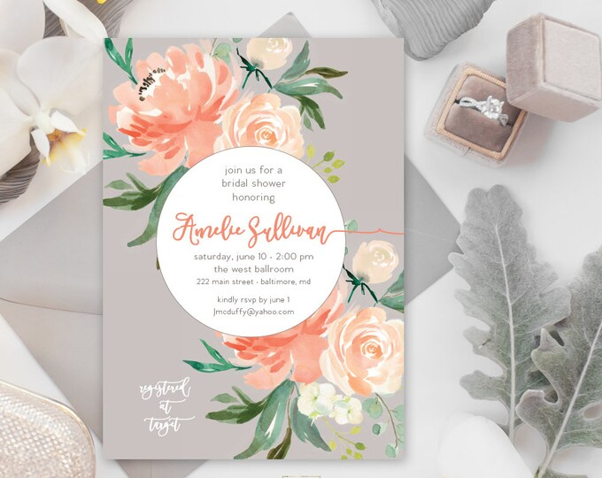 Peaches and Cream Floral Greenery Bridal Shower Invitation - Baby Shower Invitation - Peony Hydrangea Invitation Watercolor Grey Printable