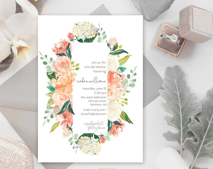 Peaches and Cream Floral Greenery Bridal Shower Invitation - Baby Shower Invitation - Peony Hydrangea Invitation Watercolor Printable