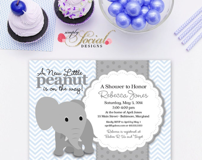 Elephant Baby Shower Invitation Blue Chevron and Grey Little Peanut Printable
