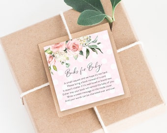 INSTANT DOWNLOAD Pink Floral Baby Shower Bring a Book Instead of a Card insert Pink Boho Watercolor Calligraphy PRINTABLE