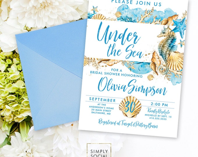 Beach Bridal Shower Invitation - Under the Sea Bridal Shower Invitation Seahorse Seashell Starfish Coral Boho Sun Sand Watercolor Printable