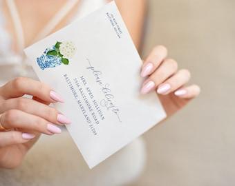 Chinoiserie Hyndrangea Bridal Shower Printed Envelopes - Ginger Jar Baby Shower Envelopes - Blue and White Jar