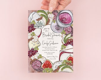 Charcuterie Invitation - Cheese Board Invite - The Perfect Pair Bridal Shower - Girls Night Invites - Hen's Night - Wine and Cheese Party