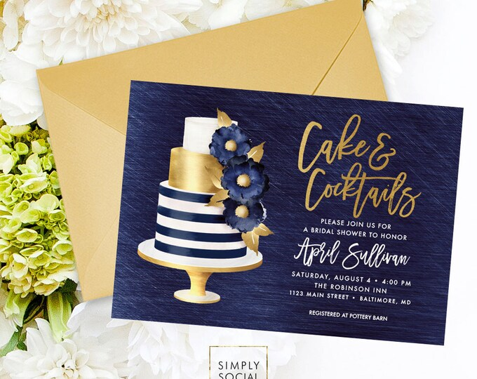 Navy Bridal Shower Invitation - Navy Blue and Gold Shower Invite Cake Invitation Cake and Cocktails Bridal Shower Printable