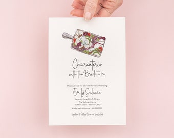 Charcuterie Bridal Shower Invitations - Cheese Board Invite - The Perfect Pair Bridal Shower - Girls Night Invites - Wine and Cheese Party