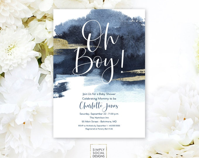 Oh Baby Nautical Navy Baby Shower Invitation - Boho It's a Boy Navy Faux Gold Foil Beach Invitation Faux Gold Glitter Watercolor