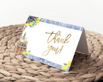 Tuscan Winetasting Bridal Shower Invitation Thank You Notes - Tuscany Lemon Printed Cards - Winery Note Cards