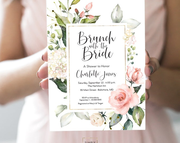 Brunch with the Bride - Pink Floral Bridal Shower Invitation - Blush Pink Flowers -  Peony Roses Greenery Invitation Watercolor Printable