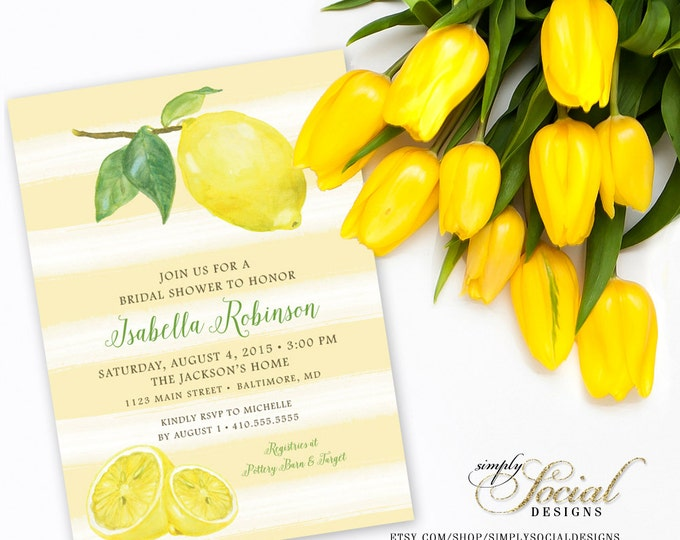 Lemon Stripe Bridal Shower Invitation - Yellow Printable Fresh Squeezed Lemonade Main Squeeze