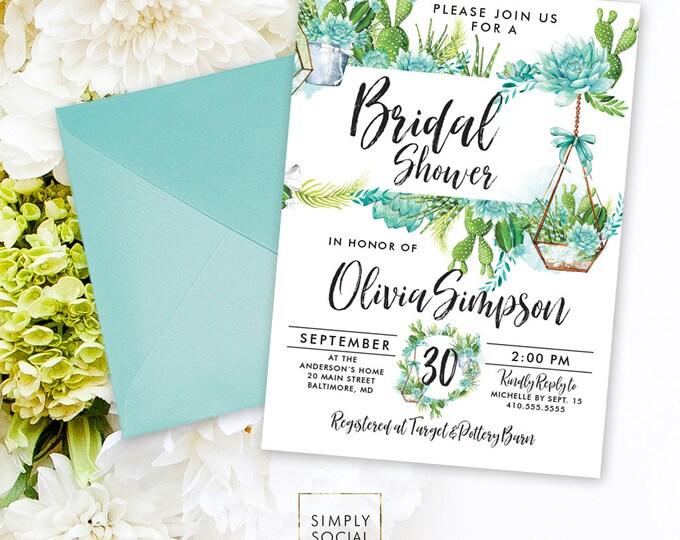 Succulents Bridal Shower Invitation - Green Succulent Terrarium Watercolor Floral Boho Shower Invitation Modern Calligraphy Printable Invite
