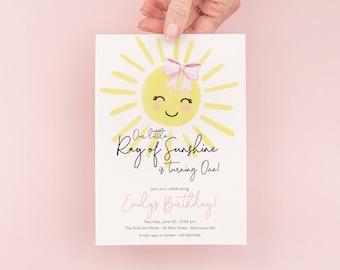 Sunshine First Birthday Invitation - Our Little Ray of Sunshine - My Sunshine Girl Pink - First Trip Around the Sun - 1st Birthday Invite
