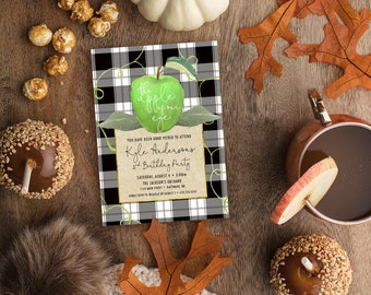 GREEN Apple of Our Eye Birthday Party Invitation with Black and White Buffalo Check - Apple Picking