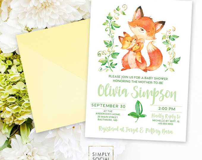 Woodland Fox Baby Shower Invitation - Mother and Baby Fox Shower Invitation Gender Neutral Hugging Floral Forest Friends Printable