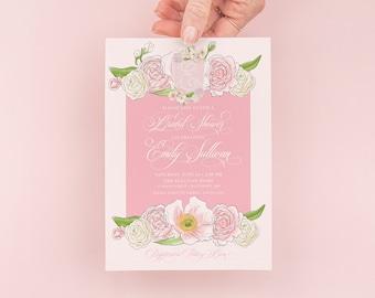 Monogram Crest Bridal Shower Invite -  Pink Baby Shower Invite - Watercolor Crest - Custom Crest Invite - Pink Monogram Crest