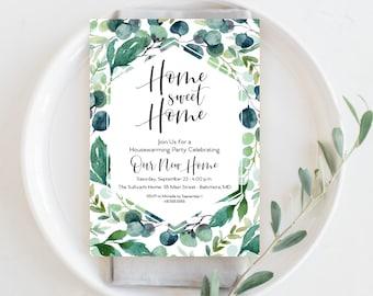 Eucalyptus Leaves Housewarming Party Invitation