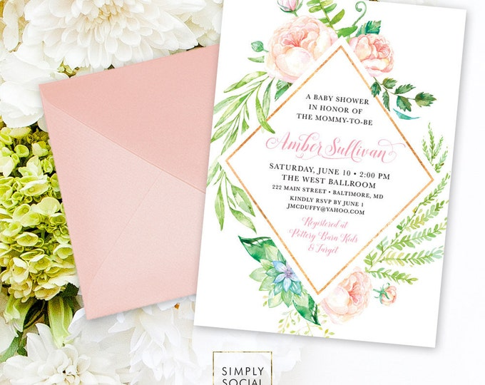 Blush Floral Baby Shower Invitation - Personalized Custom Floral Flowers Pink Gold Modern Calligraphy It's a Girl Printable Party Invite