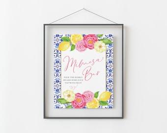 Mimosa Bar Sign for Lemon Themed Bridal Shower - Printable 8x10 INSTANT DOWNLOAD