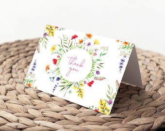 Wildflower Thank You Notes - Colorful Flower Notes - Birthday Thank You - Bridal Shower Thank you notes - Baby Shower Notes - Printed Cards
