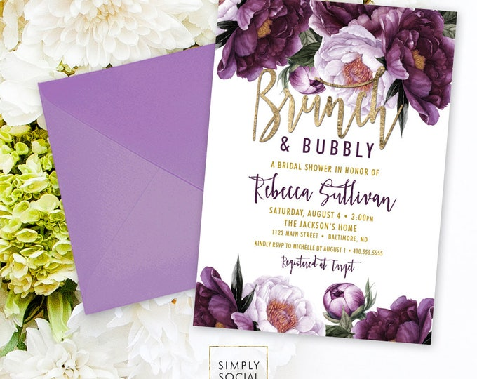 Brunch and Bubbly Autumn Bridal Shower Invitation - Purple Peony Ranunculus and Faux Gold Foil Watercolor Floral Boho Shower Printable