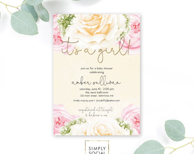 Blush Pink Floral Baby Shower Invitation - Floral Rose Peony Blush Faux Gold Foil Boho Hydrangea Watercolor It's a Girl Printable Invite