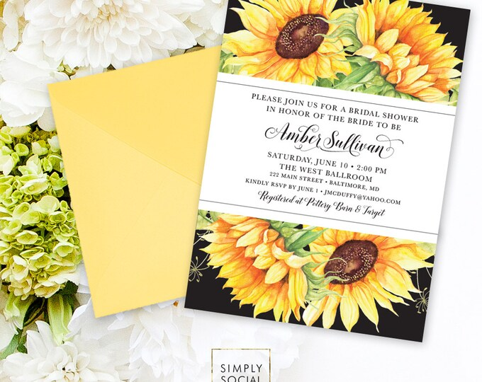 Sunflower Bridal Shower Invitation - Watercolor Sunflowers Modern Calligraphy Bridal Shower Invitation Printable Here Comes the Bride