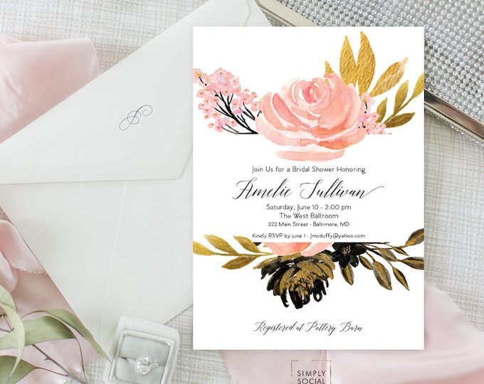 Blush Gold Black Floral Bridal Shower Invitation - Garden Shower - Baby Shower Invitation - Peony Roses Blush Watercolor Printable