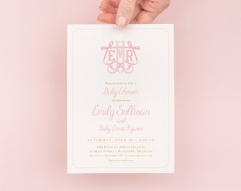 Girl Baby Shower Invitations, Preppy Pink Monogram Crest Invitation, Bow Baby Shower Invites, Preppy Baby Invites, Heirloom Bow Invite