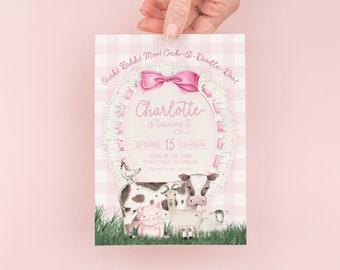 Farm Birthday Invitation Girl, Farm Birthday Party Invitation, Pink Farm Birthday Invite, Pink Gingham Barnyard Birthday Invitation