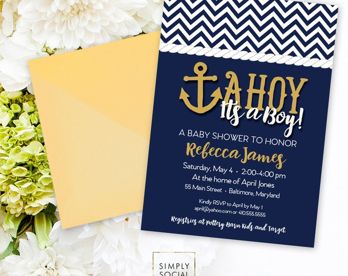 Ahoy It's a Boy Baby Shower Invitation Printable Nautical Anchor Navy and Gold Nautical Baby Shower Invitation