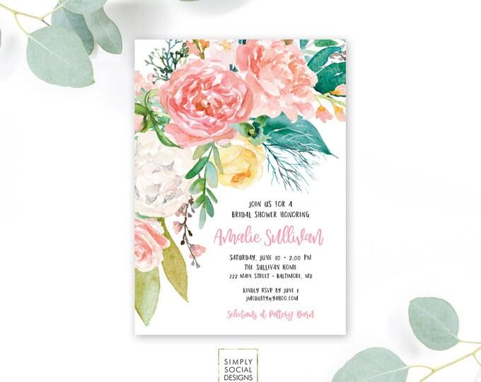 Pink Floral Greenery Bridal Shower Invitation - Garden Shower - Baby Shower Invitation - Peony Roses Blush Invitation Watercolor Printable