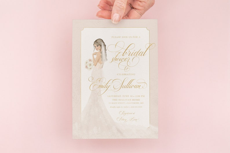 Classic Ivory Wedding Gown Bridal Shower Invitations image 0