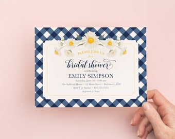 Navy Gingham Bridal Shower Invitations with Daisies - Southern Style Soiree - Bridal Brunch Invites - Southern State of Mind