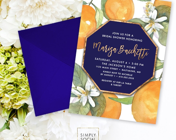 Orange Bridal Shower Invitation - Orange Blossom with Navy with Faux Gold Foil Modern Calligraphy Printable Geometric