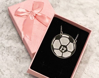 Acrylic Soccer Ball Necklace, Personalized Jersey Number Necklace, Soccer Player Gift, Soccer Team Gift, End of Season Gift