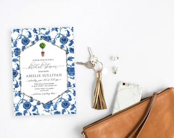 Italian Lemon Tree, Floral Chinoiserie Bridal Shower Invitation