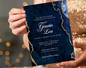 Navy and Gold Glitter Agate Bar Mitzvah Invitation