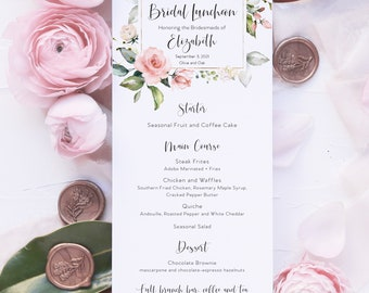 Printed Menu Cards - Bridal Shower Menu - Birthday Party Menu - Champagne Brunch - Bridesmaid Luncheon - Brunch and Bubbly